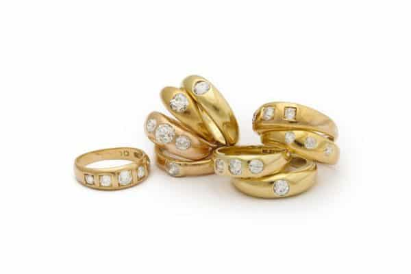 18k and diamond gypsy rings