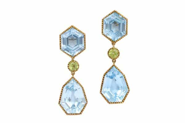 verdura blue topaz and peridot byzantine drop earrings
