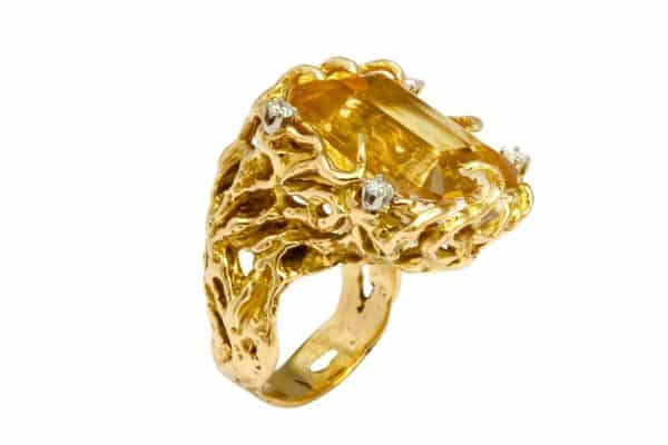 citrine, diamond and gold cocktail ring