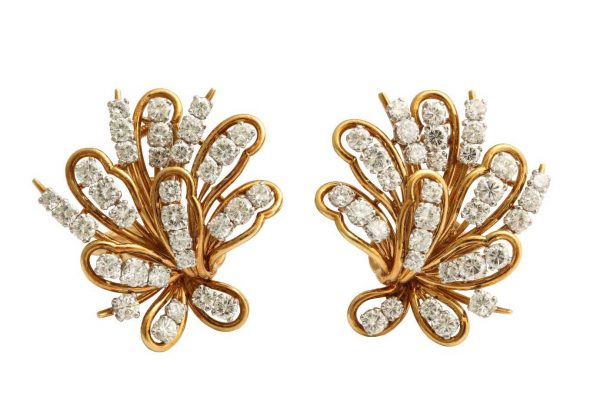 retro gold and diamond bulgari earrings