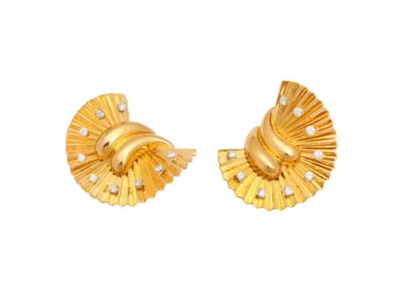 gubelin 18k retro fan earrings/clips