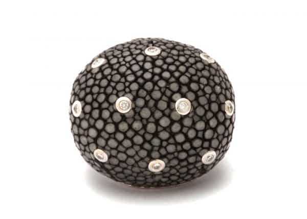 shagreen and diamond bombe ring