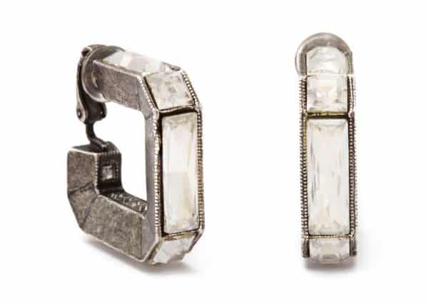 lanvin crystal and sterling geometric hoop earrings