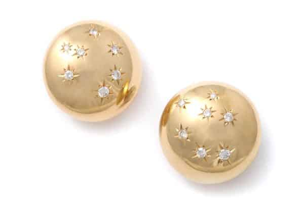 retro american gold and diamond earrings