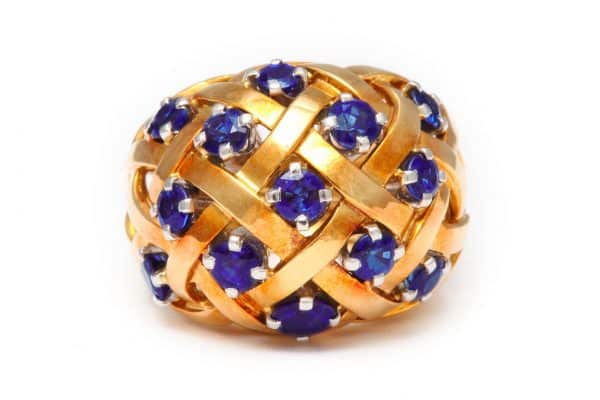 schlumberger sapphire and diamond cocktail ring
