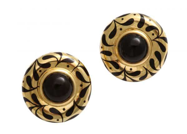 elizabeth gage 18k and onyx earrings