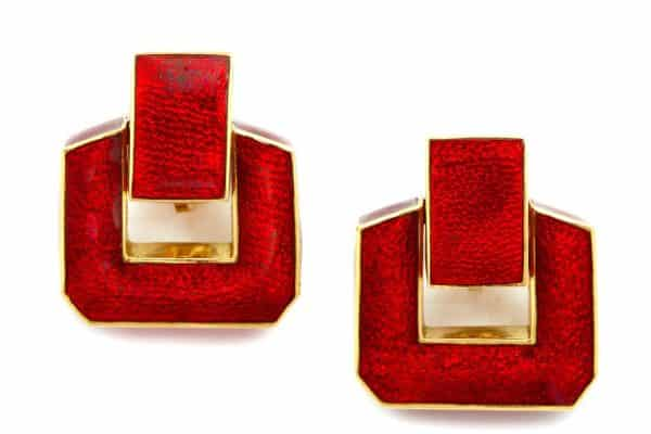 david webb 18k gold and red enamel doorknocker earrings