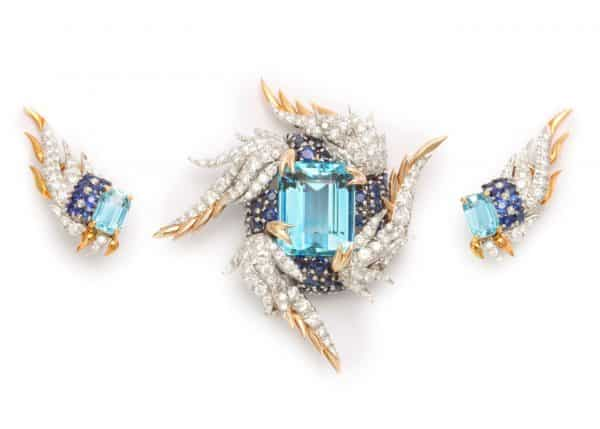 "schlumberger ""paris flame"" suite in aquamarine, sapphire and diamond"