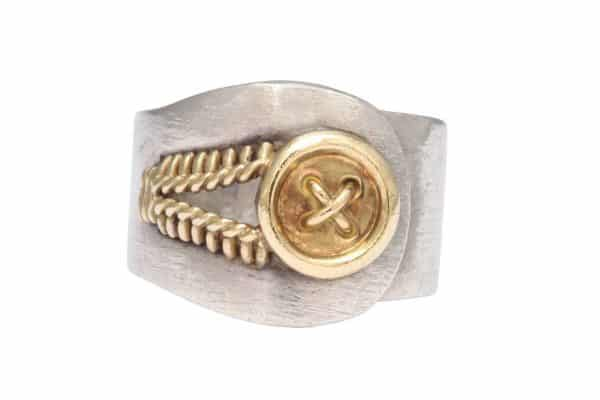 hermes 18k gold and sterling ring