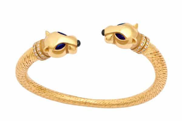 cartier panthere 18k gold, sapphire and diamond bracelet