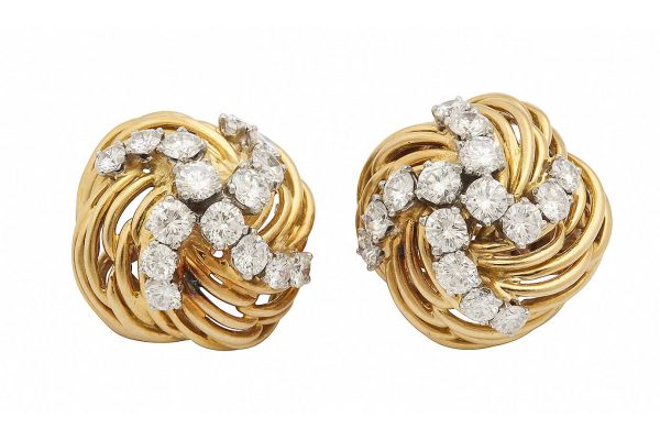 bulgari 18k and diamond earrings