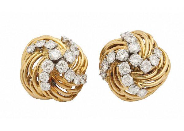 bulgari 18k and diamond earrings