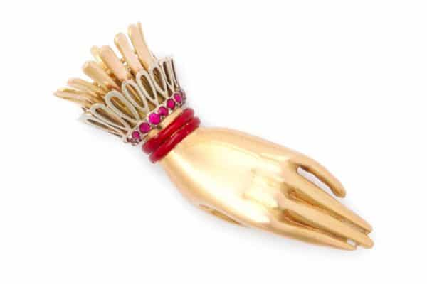 "paul flato ""hand"" brooch"