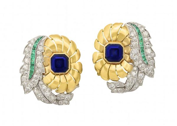raymond yard sapphire, platinum, diamond, emerald and 18k earrings
