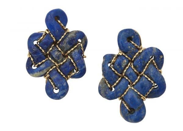 tony duquette celtic knot 18k and lapis earrings