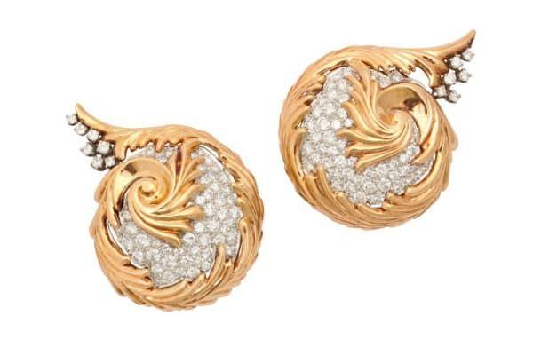 verdura 18k and diamond retro ear clips