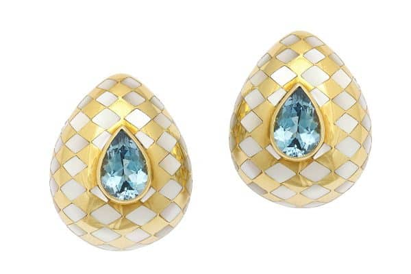angela cummings 18k, aquamarine and mother of pearl earrings