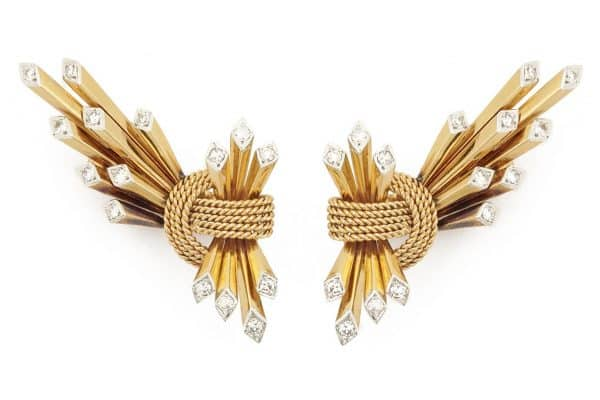 webb 1950's 18k and diamond geometric earrings