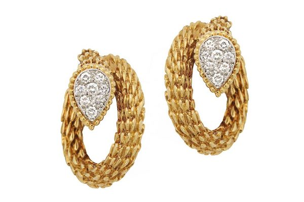 boucheron ca. 1950's gold and diamond earrings