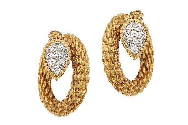 boucheron ca. 1950's gold and diamond earrings