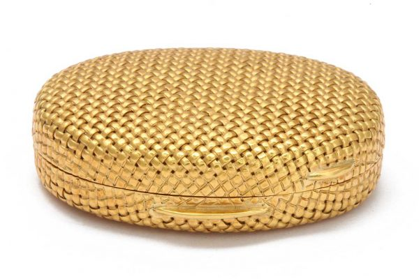 schlumberger 18k gold basket weave pillbox