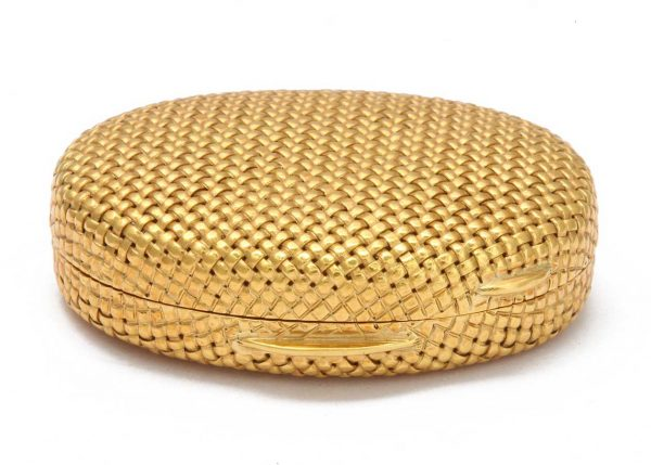 schlumberger 18k gold basket weave pillbox
