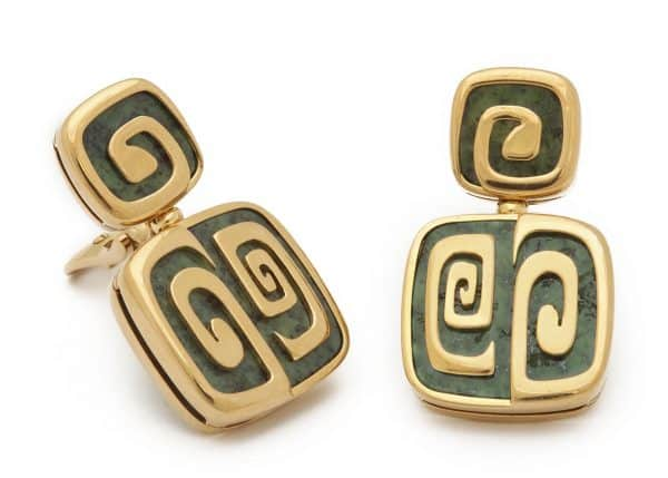 bulgari green garnet and 18k geometric earrings