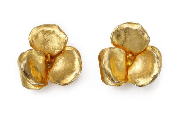 lanvin gold flower earrings
