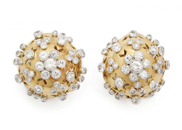 van cleef and arpels 1940s bombe gold and diamond bombe ear clips