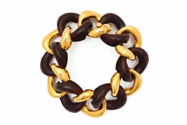 seaman schepps cocobola wood and gold bracelet