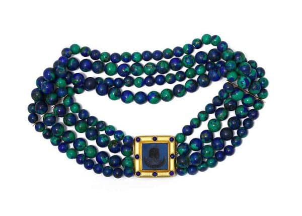 elizabeth locke azuremalachite intaglio necklace
