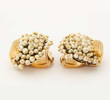 rene boivin pearl and 18k ear clips