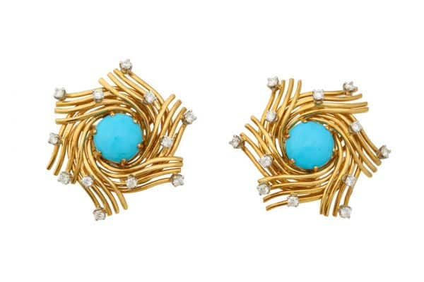 schlumberger turquoise, 18k, diamond bird's nest earrings