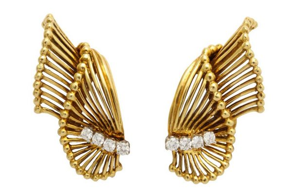 retro tiffany gold and diamond earrings