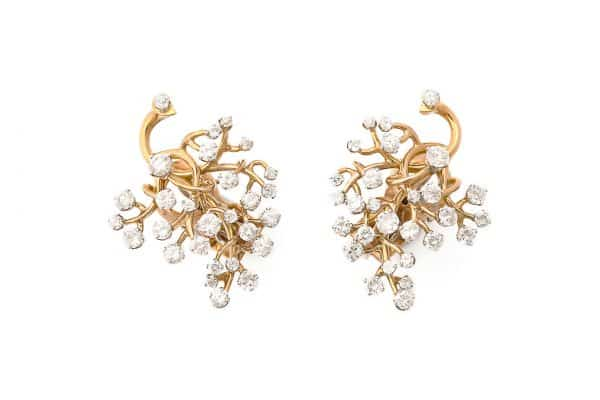 "van cleef gold and diamond ""tree of life"" earrings"