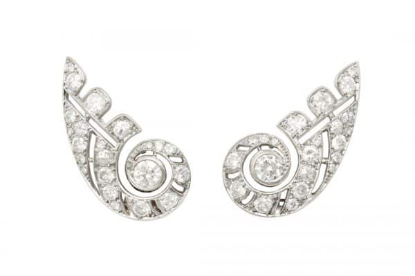 boivin deco diamond earrings, ca.1930s