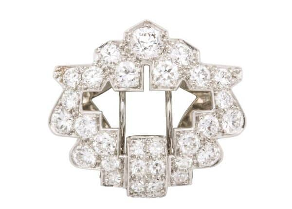 cartier deco diamond pin