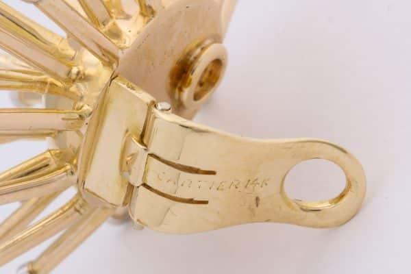 cartier 18k gold vintage sputnik earrings with diamonds