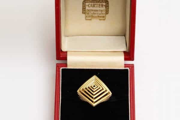 cartier geometric gold ring