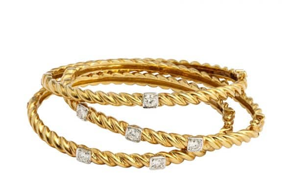 vintage cartier 18k gold and diamond bangle bracelets