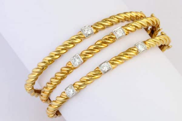 vintage cartier 18k gold and diamond bangle bracelets