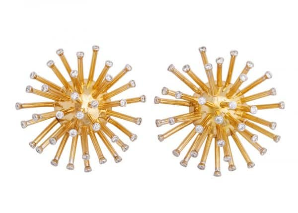 cartier 18k gold vintage sputnik earrings with diamonds