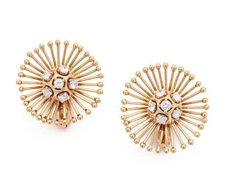 cartier sputnik gold and diamond earrings