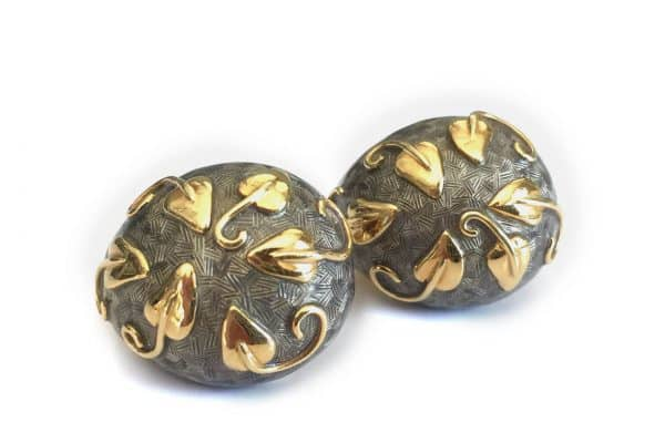 elizabeth gage 18k leaf earrings