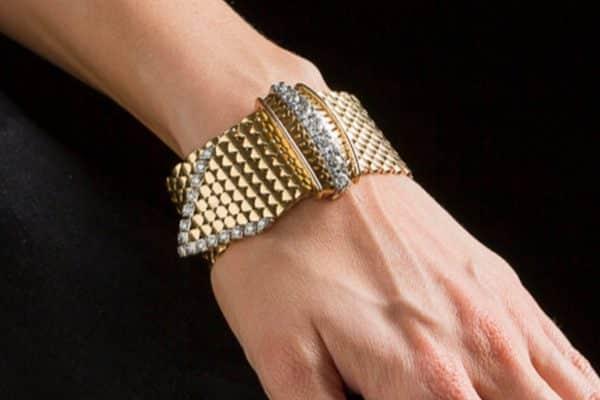 vintage gold and diamond buckle bracelet