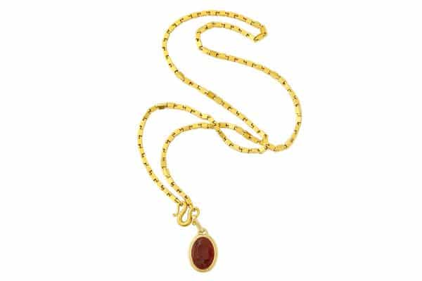 heavy italian 22k link necklace with intaglio pendant