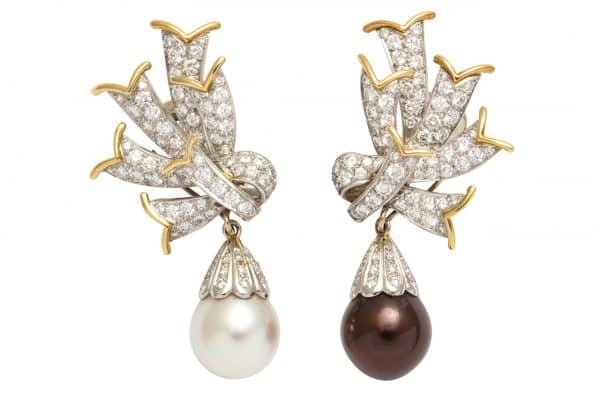 schlumberger diamond platinum pearl-earrings