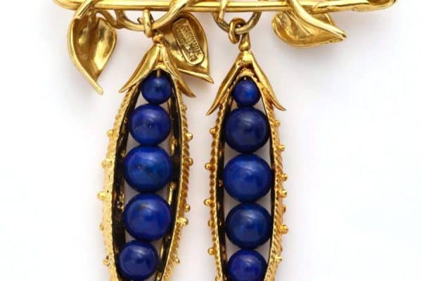 "schlumberger lapis and gold ""pea pod"" brooch"