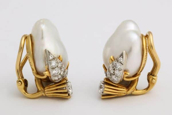 schlumberger peggy rockefeller pearl and diamond earrings