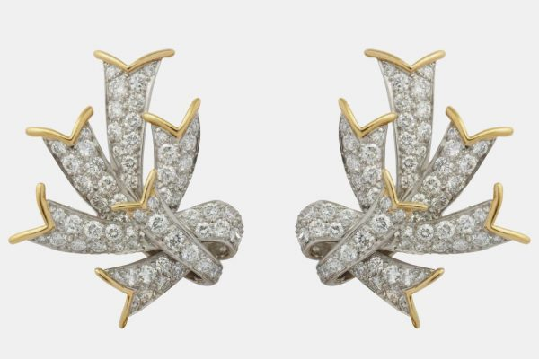 "schlumberger ""ribbon"" diamond and gold earrings"